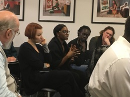 (left to right) Crina Mares (Franz Binder Museum of University Ethnography, Sibiu), Sarah Adut Ayik (Cambridge University), Anyieth d'Awol (Roots Project), Elke Selter (SOAS)